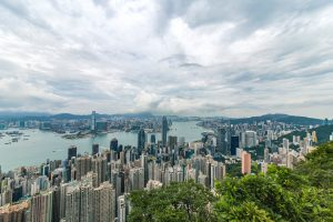 view from the sky on hong kong