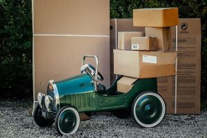 -moving boxes in the car