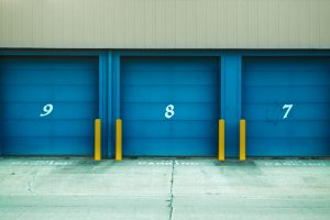 blue storage unit doors