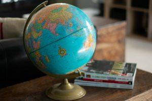 A world globe on a table