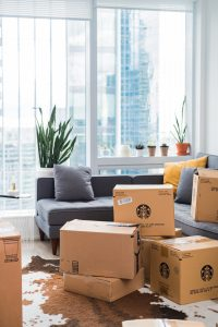 -moving boxes in the living room