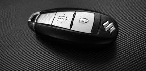 Car keys on a desk