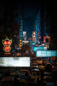Picture of traffic jam in Hong Kong