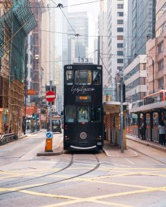 Picture of a tram in Hong Kong.