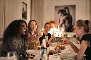 female friends having a dinner at the restaurant