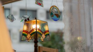 colorful lamp next to the window