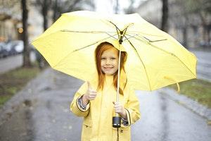 Girl in raincoat with umbrella