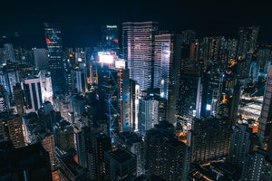 Skyline of buildings on night