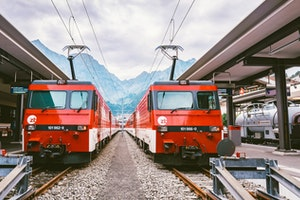 Two red trains at station