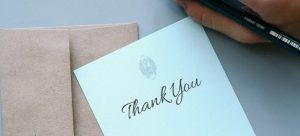 A handwritten thank you note - reward movers for a job well done