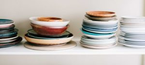 Colourful plates are placed on top of each other