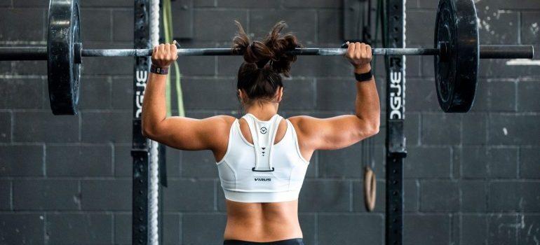 A girl exercising