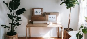 labeled moving boxes on the table