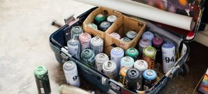 Aerosol cans in a suitcase